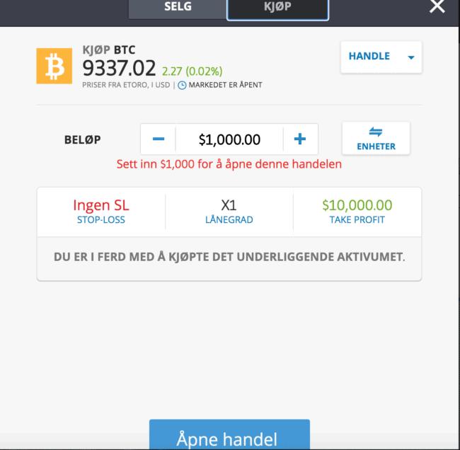 kjøp bitcoin etoro