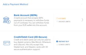 betalingsmuligheter i coinbase