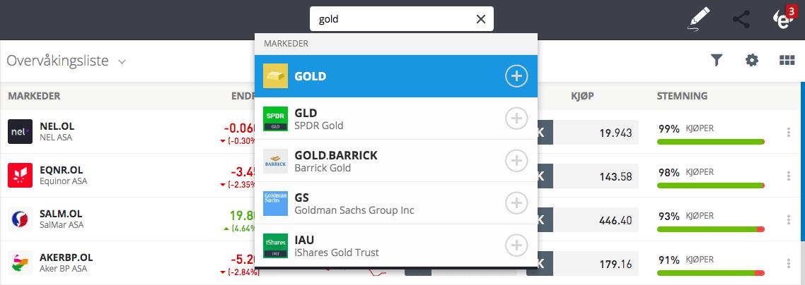 Gull investering eToro