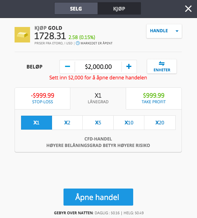Gull handle eToro
