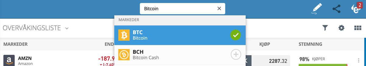 """Søk på Bitcoin i søkefeltet. Du kan søke øverst i søkefeltet og komme inn på Bitcoin derfra. Alternativt kan du klikke på """"Handelsmarkeder"""" i venstre side. Hvis du velger det kan du se alt som du kan investere i. Her velger du krypto og deretter Bitcoin."""