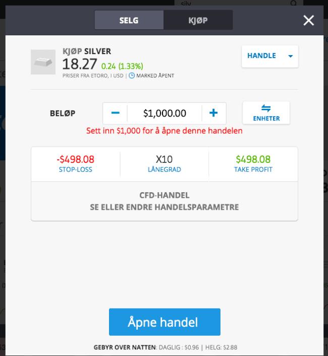 Sølv kjøp/salg eToro