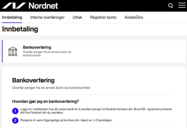 Nordnet bankoverføring