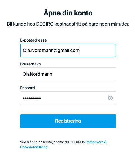 Registrering DeGiro