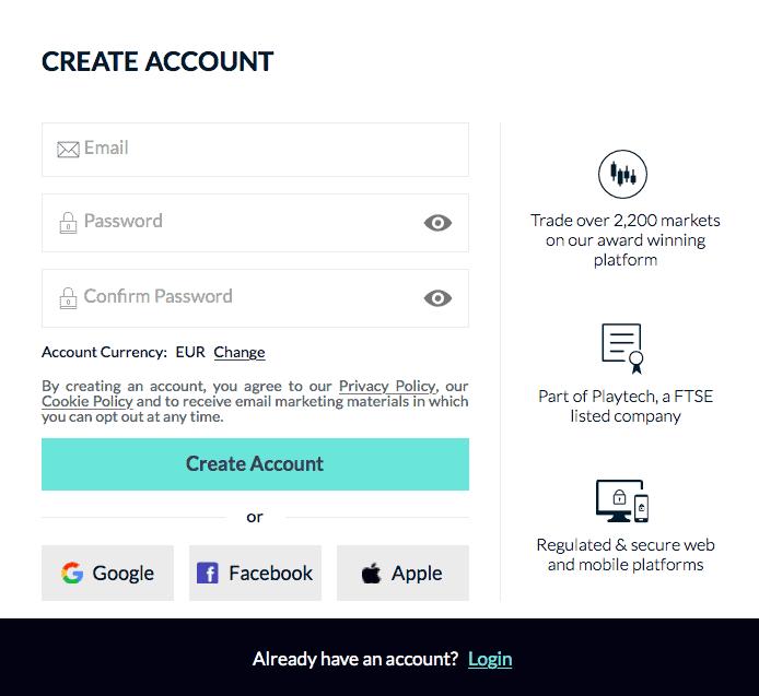 Opprett bruker Markets.com