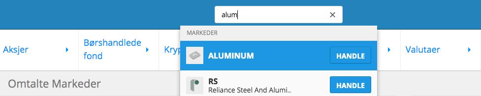 Aluminium søk etoro