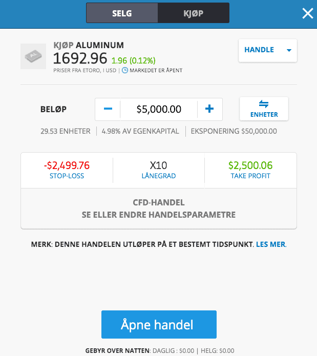Kjøp aluminium etoro