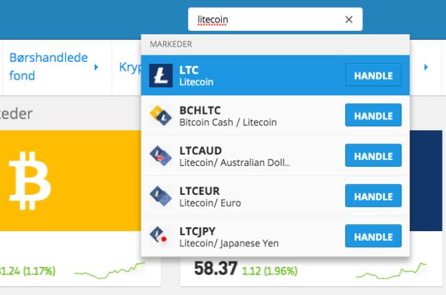 søk Litecoin eToro