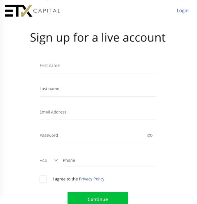 etx capital login
