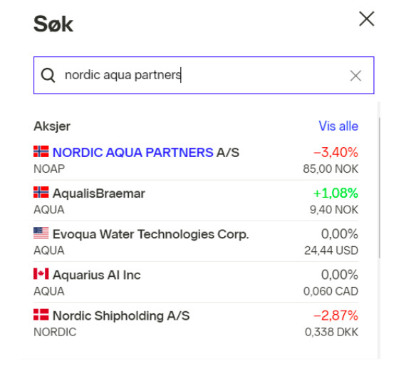 nordic aqua partners aksjer