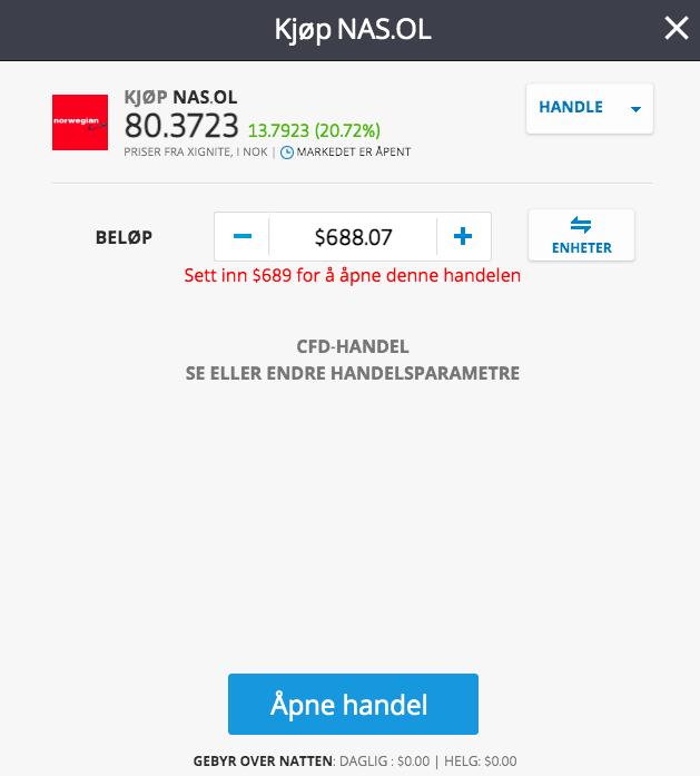 kjøp norwegian aksjer