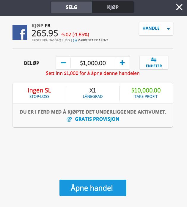 kjøp facebook aksje