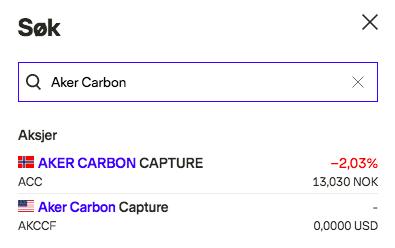 aker carbon capture aksjer