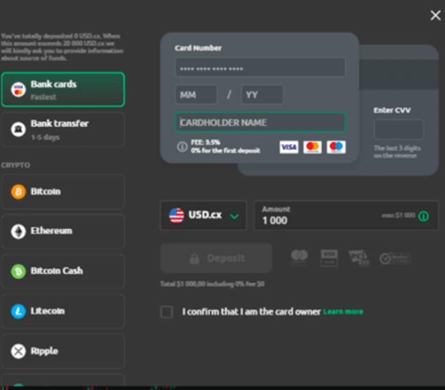 gjør et innskudd currency.com