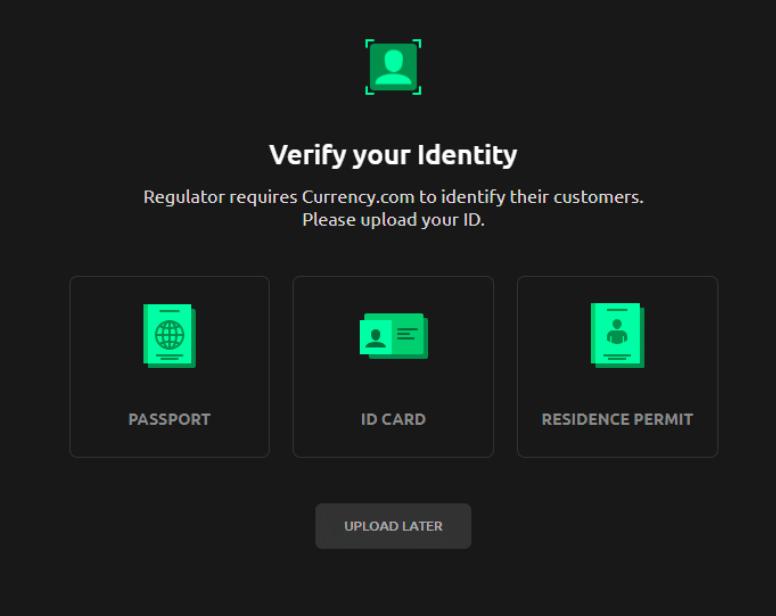 currency.com verifiser profil